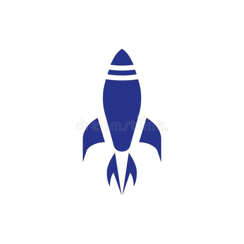 Rocket sube, estilo plano del diseño del ejemplo del vector de la acción del icono del poder stock de ilustración