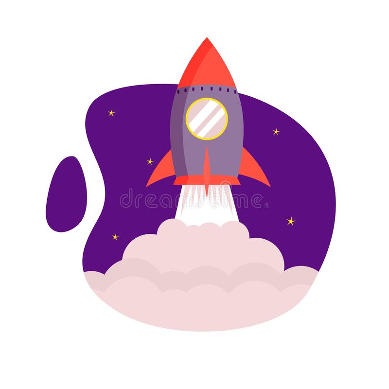 Rocket takeoff, launch for start of business, new product, start up, product marketing. Concept vector illustration rocket takeoff, launch for start of business royalty free illustration