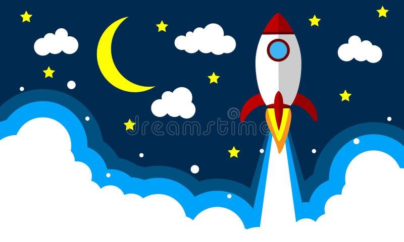Rocket takeoff in the night sky. Vector art illustration royalty free illustration
