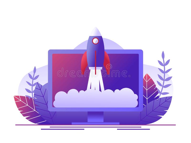 Rocket takes off in the computer. Concept of new business project start-up development, launch a new innovation product on a. Market. Flat vector illustration vector illustration