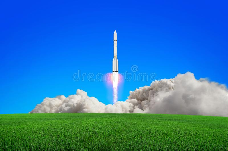 Rocket takes off into the sky. royalty free stock photography