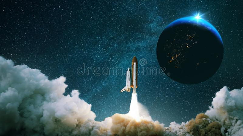 Rocket takes off into space with the planet. Spacecraft performs the space mission. Ship takes off into the starry sky. stock photos