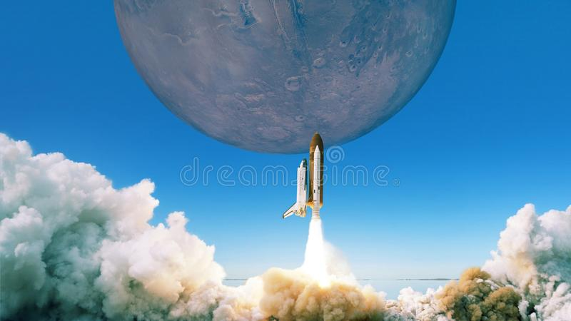 Rocket takes off to the planet Mars. Space ship flying into the sky. Rocket takes off to the planet Mars. Space ship flying into the sky stock images