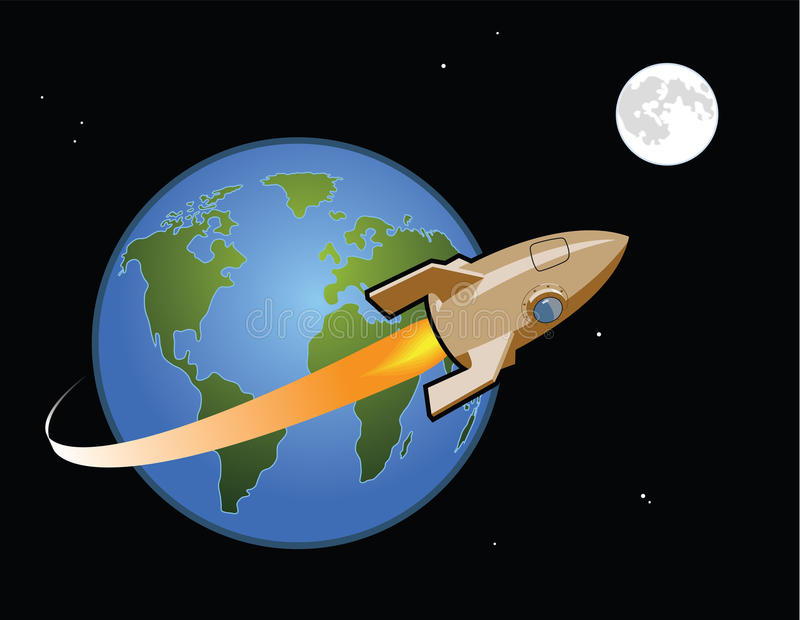 Rocket to the Moon vector illustration