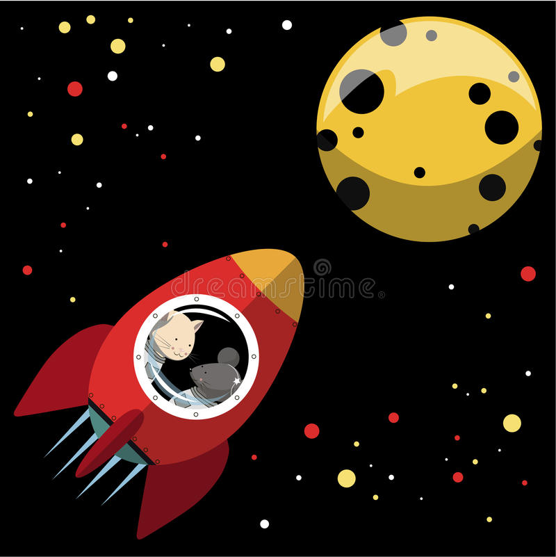 Rocket to the moon. Illustration. the cat and the mouse fly on a rocket to the moon .In the sky the stars Shine with different colors. Cat and mouse look out the vector illustration