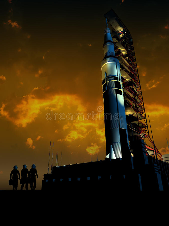 Rocket to the Moon. Three cosmonauts approaching the site of the launch of the Saturn V rocket, under the sunrise royalty free illustration