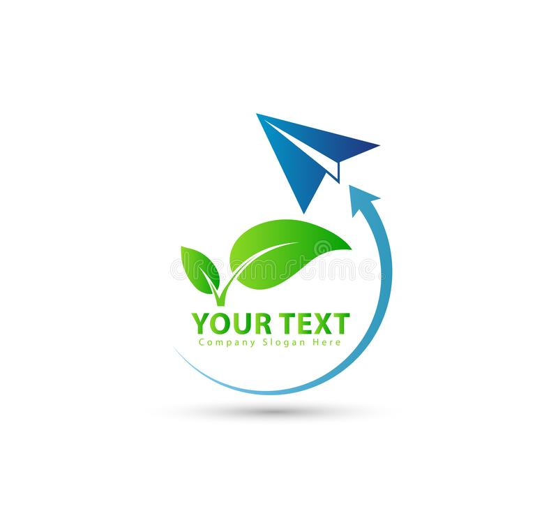 Rocket, transportation, green leaf business logo. vector illustration