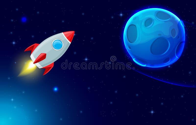 Rocket und blauer Planet vektor abbildung