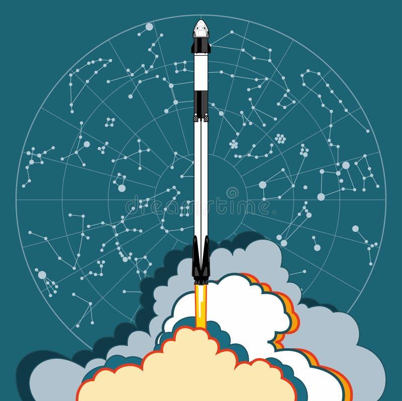 Rocket, vector del arte del espacio El 2019 de marzo, lanzamiento de cohete 2 Nave espacial del cartel del vector, mapa de estrel libre illustration