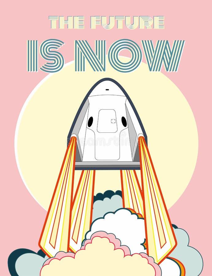 Rocket, vector del arte del espacio El 2019 de marzo, lanzamiento de cohete 2 Nave espacial del cartel del vector, sol, llama, va ilustración del vector