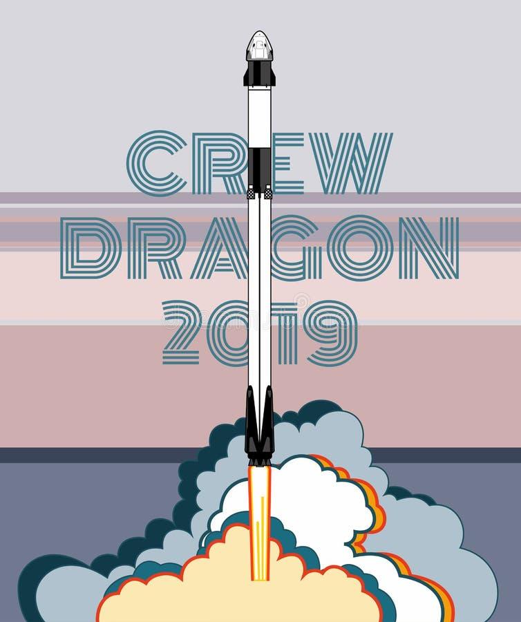 Rocket, vector del arte del espacio El 2019 de marzo, lanzamiento de cohete 2 Nave espacial, llama y vapor del cartel del vector  stock de ilustración