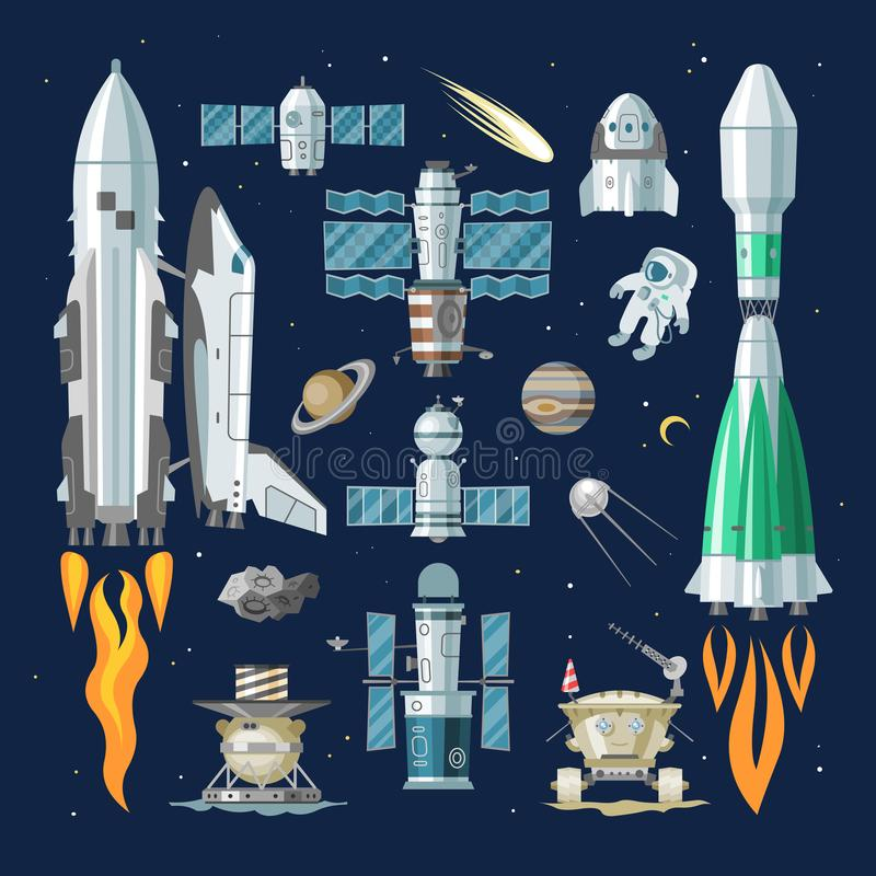 Rocket vector spaceship or spacecraft and satellite or lunar-rover illustration spacy set of spaced ship in universe. Space with planets isolated on background stock illustration