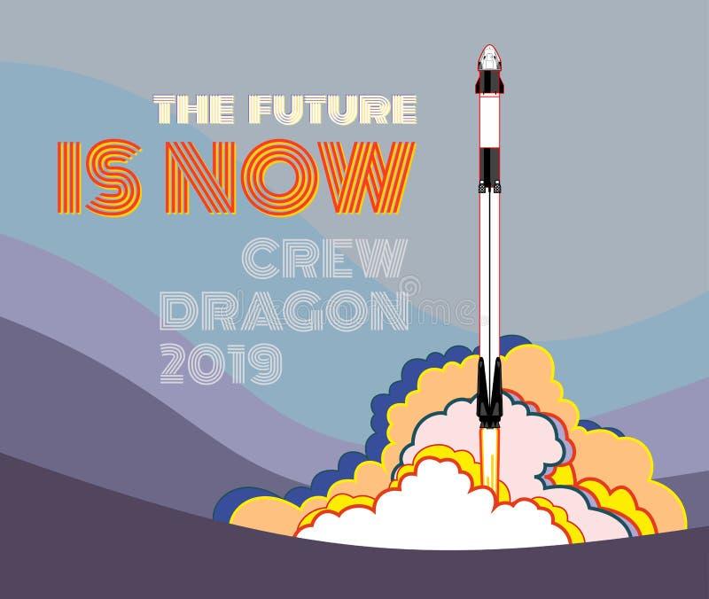 Rocket, vetor do of?cio do espa?o 2019 mar?o, lan?amento de foguete 2 Nave espacial, chama e vapor do cartaz do vetor no fundo az ilustração royalty free