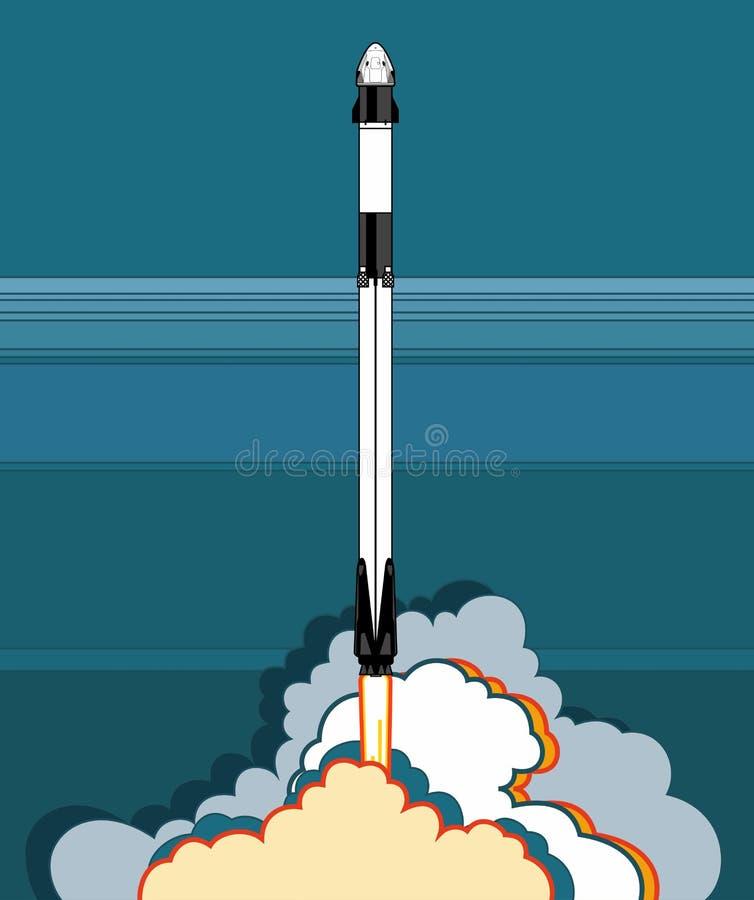 Rocket, vetor do ofício do espaço 2019 mar?o, lan?amento de foguete 2 Nave espacial, chama e vapor do cartaz do vetor no fundo az ilustração royalty free