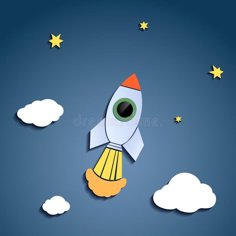 Rocket voa contra o céu ilustração stock