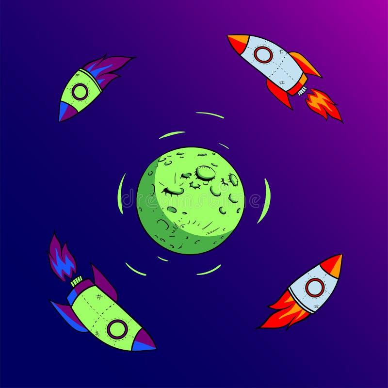 Rocket vola intorno all'icona piana di progettazione della luna immagini stock
