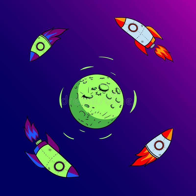 Rocket vola intorno all'icona piana di progettazione della luna immagini stock libere da diritti