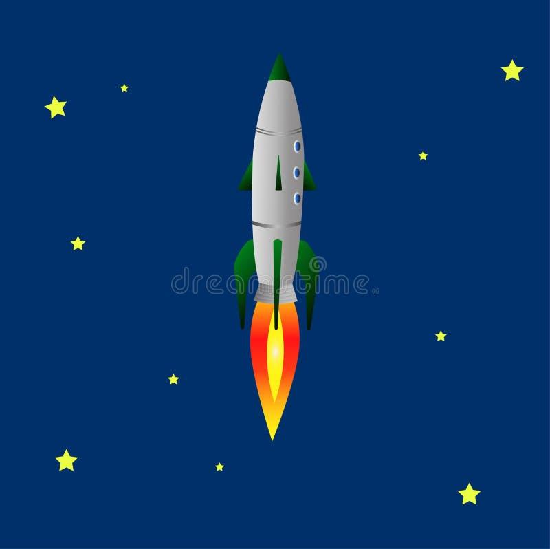 Rocket vole dans l'espace illustration stock