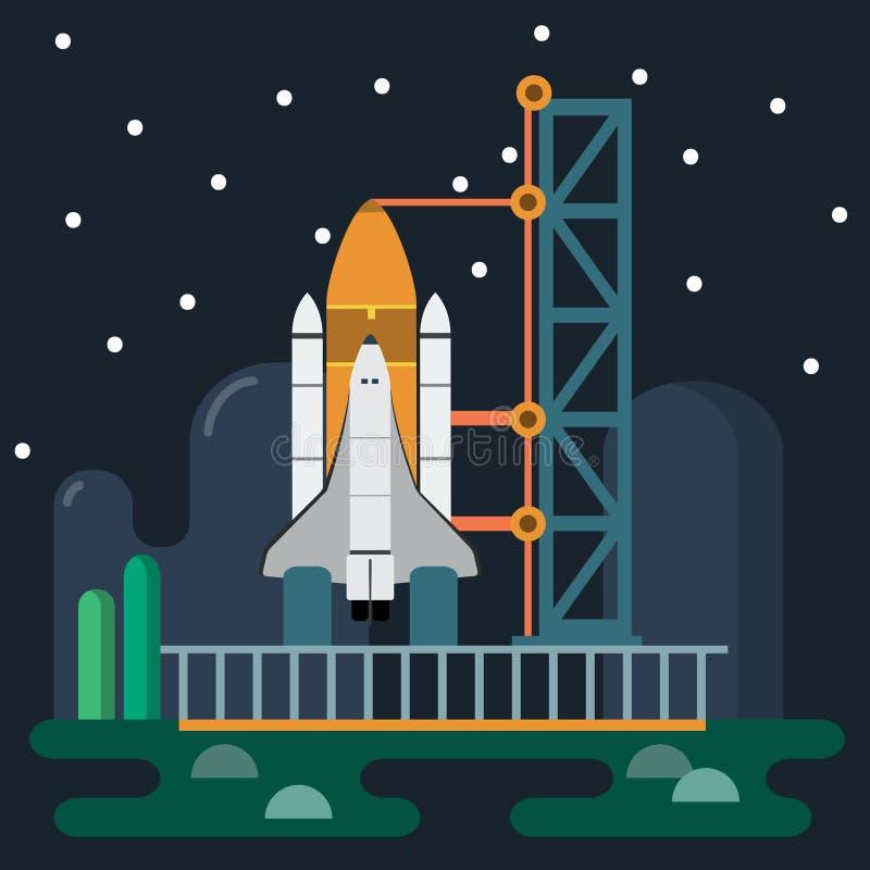 Rocket vor Produkteinführungs-Vektorillustration lizenzfreie abbildung