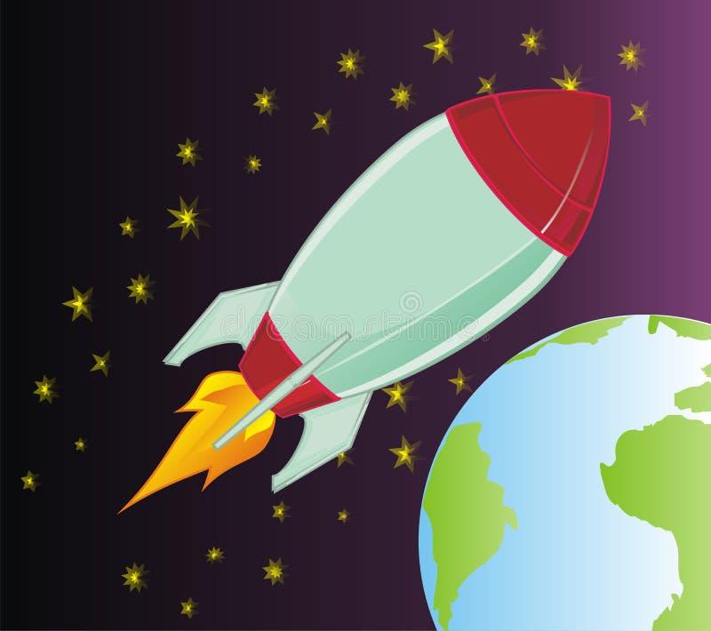 Rocket y espacio negro con el planeta stock de ilustración