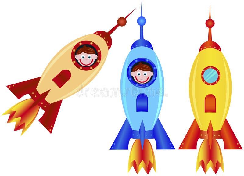 Rocket y muchacho ilustración del vector