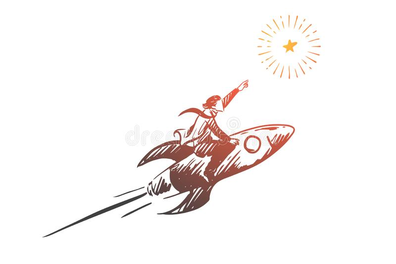 Rocket, Ziel, Geschäft, Anfang, Erfolgskonzept Hand gezeichneter lokalisierter Vektor stock abbildung