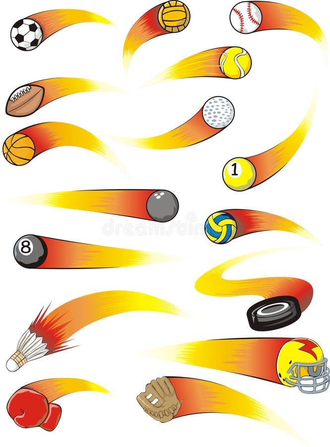 Rocket Zoom Sport Balls. Uniquely drawn sport balls in rocket zooming fashion. Sport balls and gears include a basketball, soccer ball, tennis ball, football vector illustration