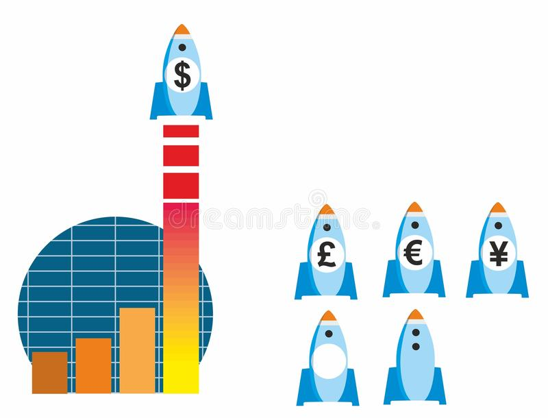 Rocketing Sales Graphic. Stylized infographic of sales graph and rocket with currency variants for dollar, pound, euro and yen/yuan royalty free illustration
