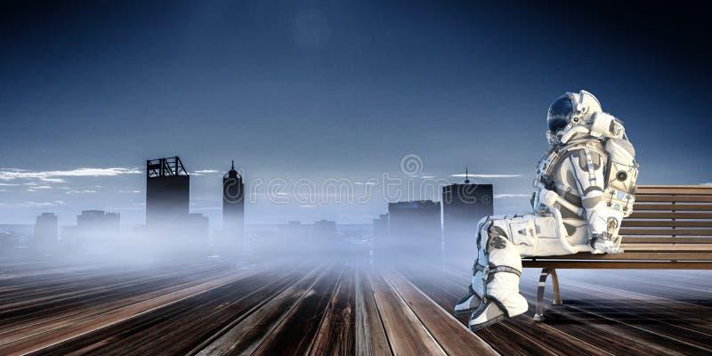 Rocketman on bench. Mixed media vector illustration