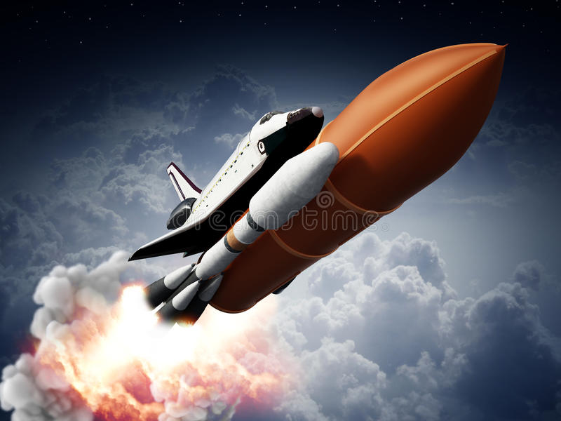 Rockets carrying space shuttle launches off. 3D illustration royalty free illustration