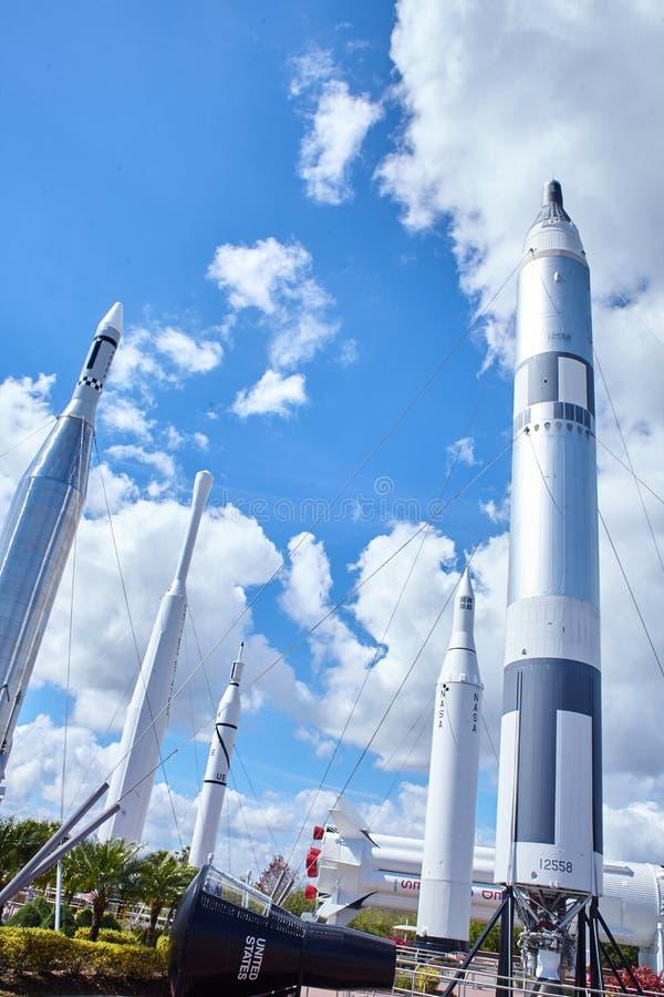 Rockets an der NASA Kennedy Space Center Florida lizenzfreies stockfoto