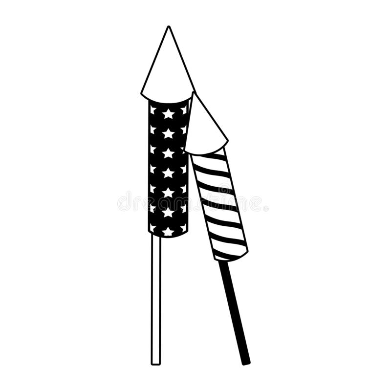 Rockets firework isolated in black and white vector illustration