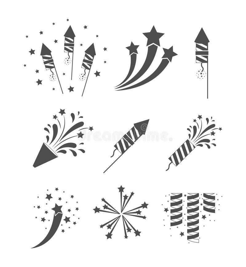 Rockets and fireworks bursting set in grayscale silhouette over white background stock illustration
