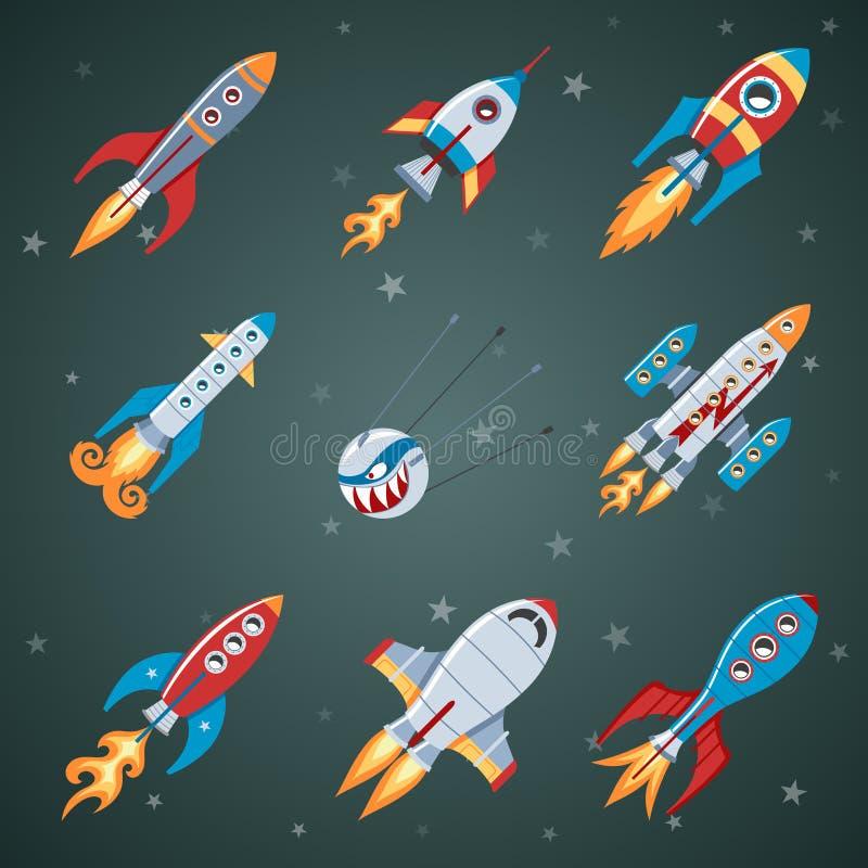 Rockets Flat Icon Set ilustración del vector
