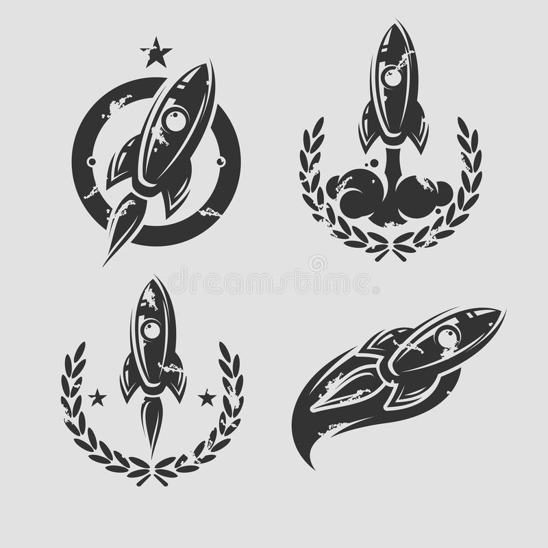 Rockets labels and icons set. Vector stock illustration