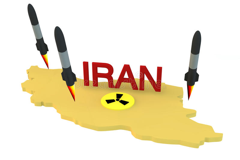 Rockets launch from Iran model with nuclear logo royalty free illustration