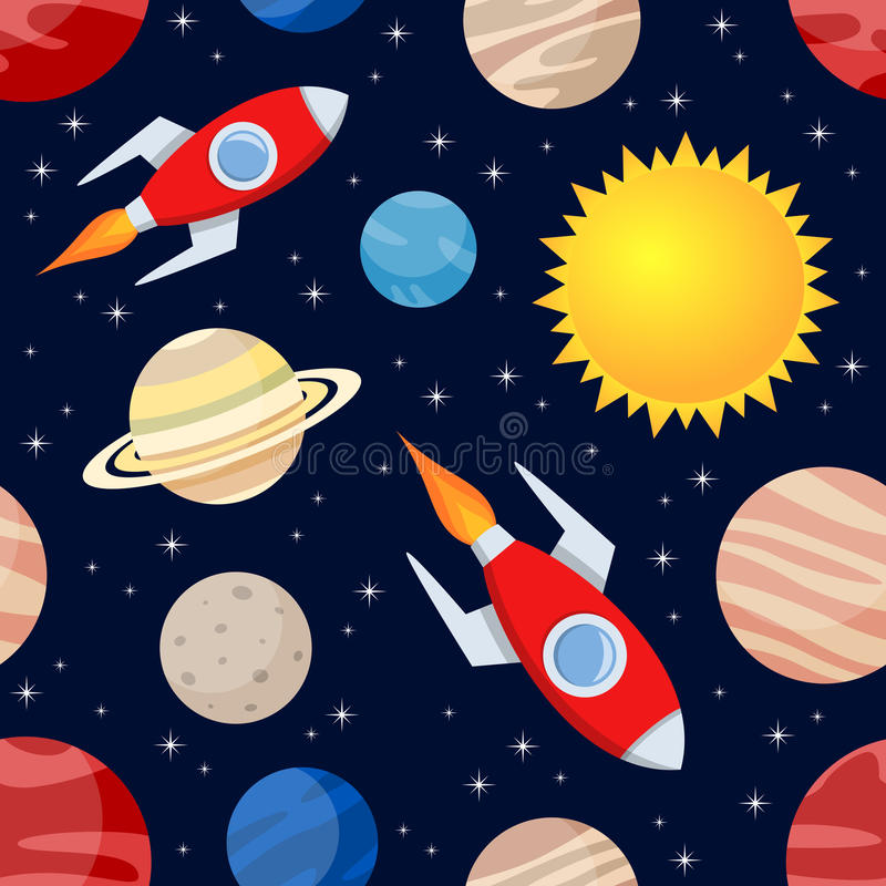 Rockets & Planets Seamless Pattern. A cartoon seamless pattern with planets of the solar system, the Sun and space rockets flying, on dark blue background with vector illustration