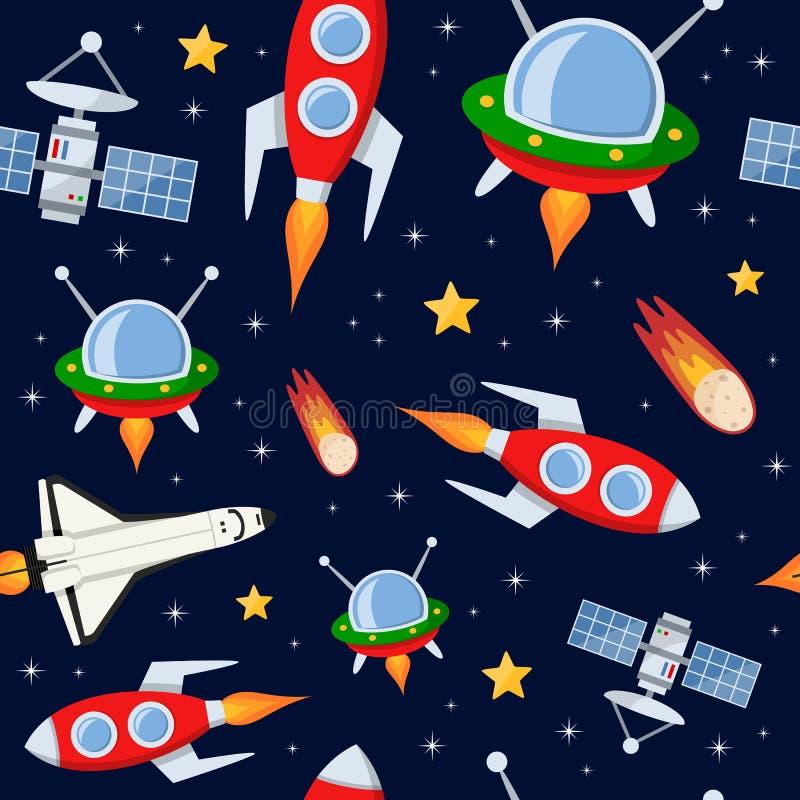 Rockets Satellites Stars Seamless Pattern. A cartoon seamless pattern with stars, comets or asteroids, rockets, spacecrafts, shuttle and satellites, on dark blue