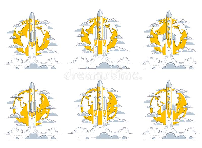 Rockets start from earth to space to discover undiscovered galaxies. Explore universe, interesting space science. Thin line 3d. Vector illustrations set royalty free illustration