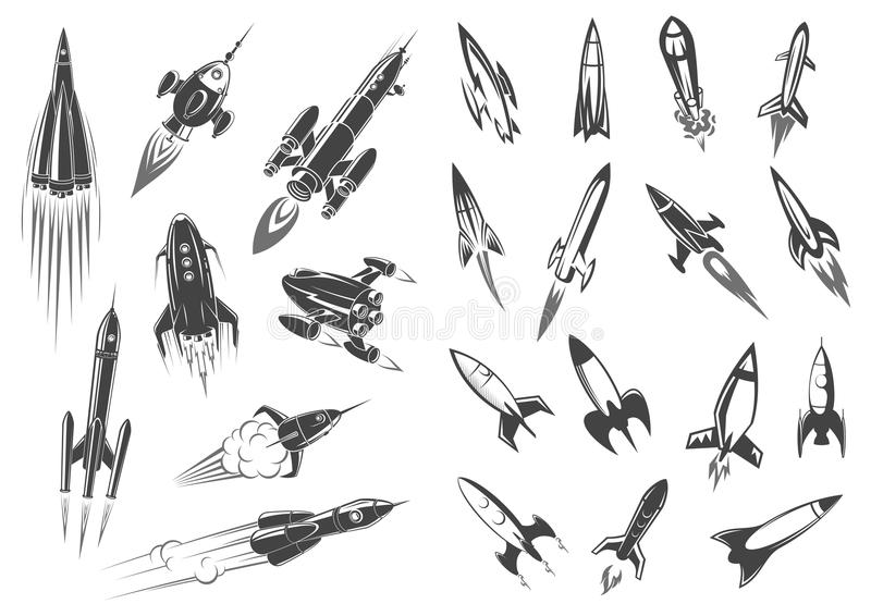 Rockets vector spaceship cartoon retro icons set vector illustration