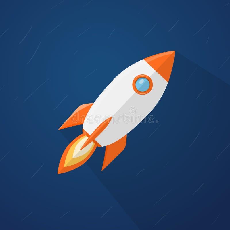 Rocketship flyi i utrymmet stock illustrationer