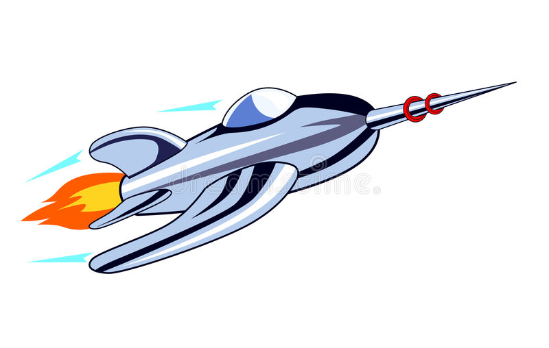 Rocketship labrado retro libre illustration