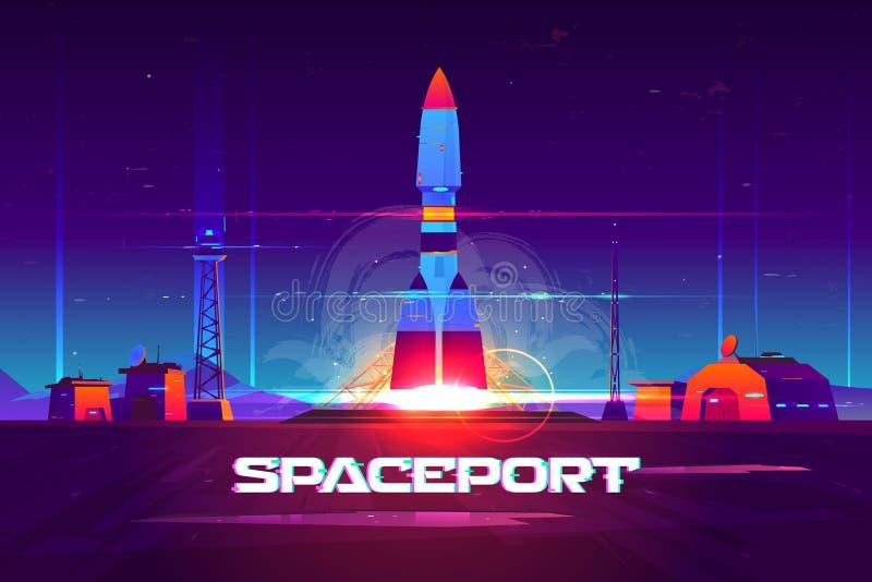 Rocketship launching from spaceport cartoon vector vector illustration
