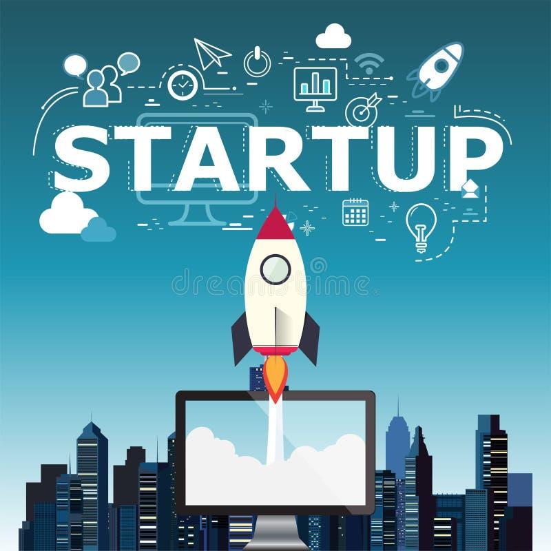 Rocketship no computador para meios startup ilustração royalty free