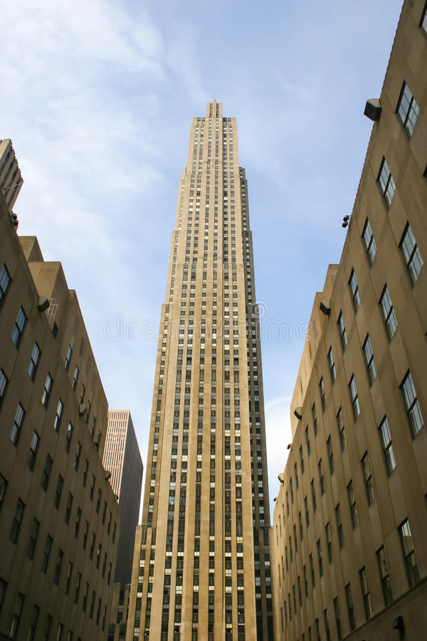 Rockfeller Center. NEW YORK CITY, USA - MARCH 17 : A low angle view of the 30 Rockefeller Center skyscraper, the centerpiece of Rockefeller Center in Midtown stock photo