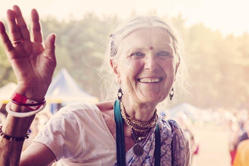 Rockfestival Woodstock Polen, das Besucher feiert lizenzfreies stockbild