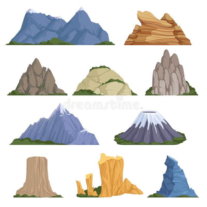 Rockies mountains. Volcano rock snow outdoor various types of relief for climbing and hiking vector cartoon vector illustration