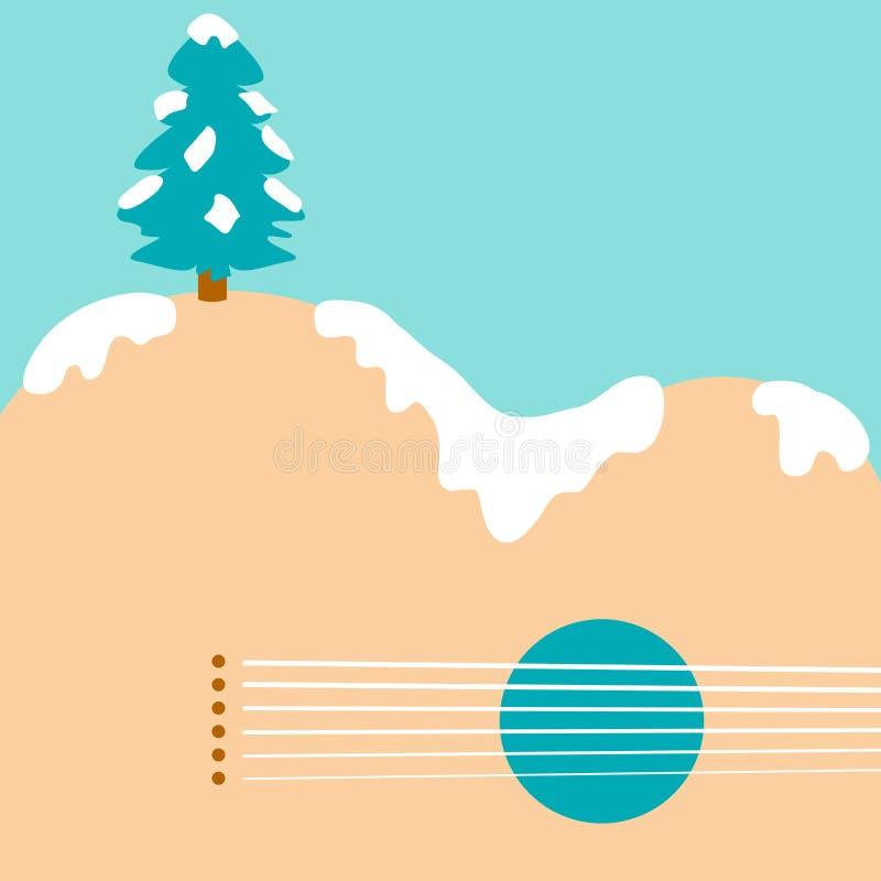 Rockin' вокруг предпосылки гитары рождественской елки иллюстрация штока