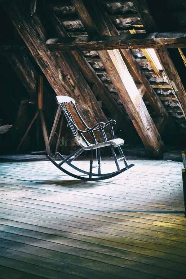 The rocking armchair on attic floor of Round Tower in Copenhagen stock images