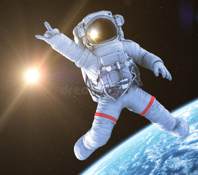 Rocking Astronaut, 3d render stock illustration